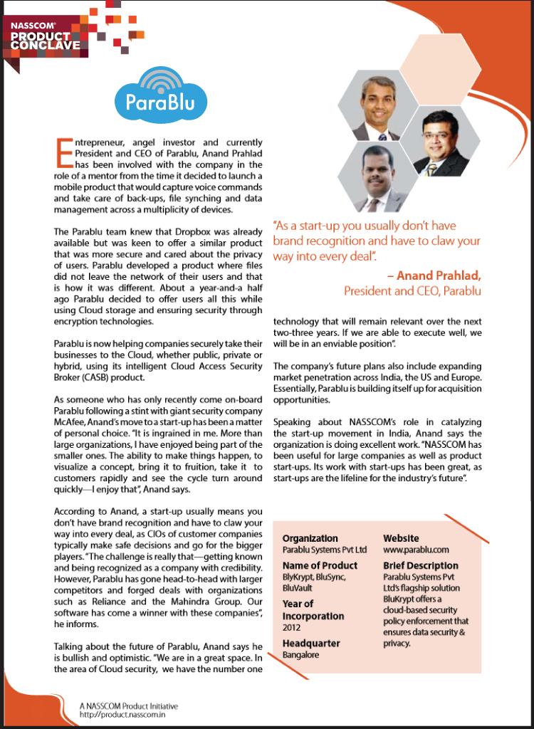 Parablu Emerge 50-2015 Nasscom booklet mention